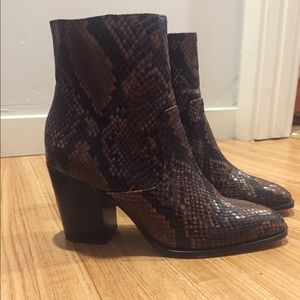 Zara Ankle Snake Print Boots
